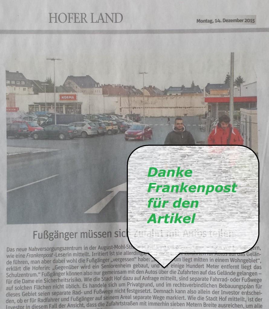 Frankenpost berichtet am Dienstag 14.12.2015 über das Nahversorgungszentrum August-Mohl-Straße in Hof