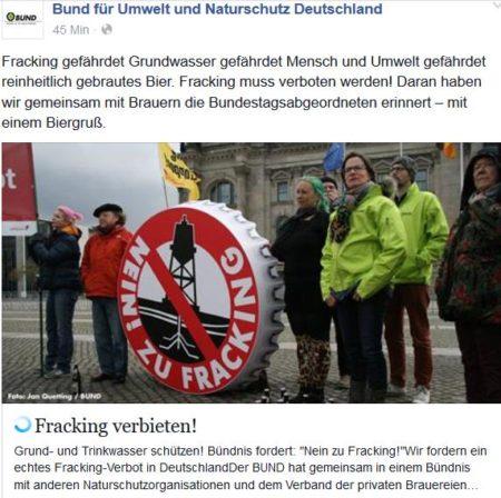 Bund Naturschutz und dt. Bierbrauer für Fracking Verbot